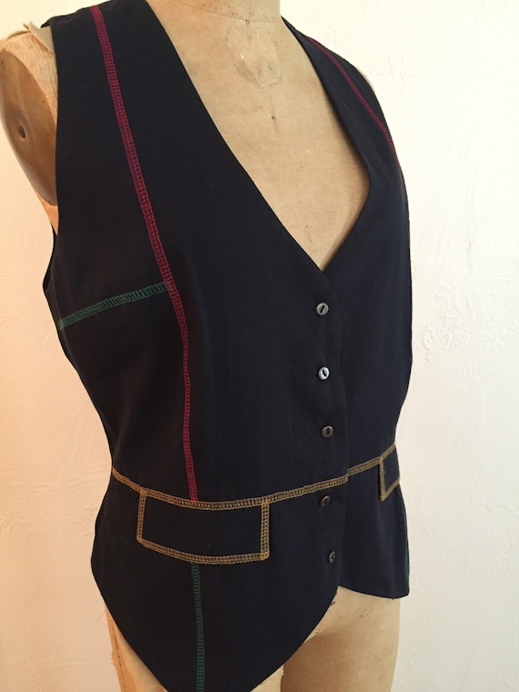 Red Yellow Green Topstitched Navy Rayon Vintage TO
