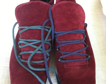 Burgundy Suede Vintage JOAN and DAVID Boots 10