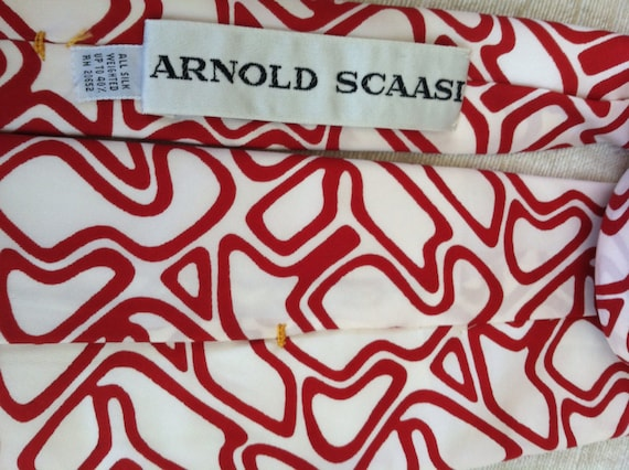Rich Red Abstract Puzzle Lines on White Vintage A… - image 4