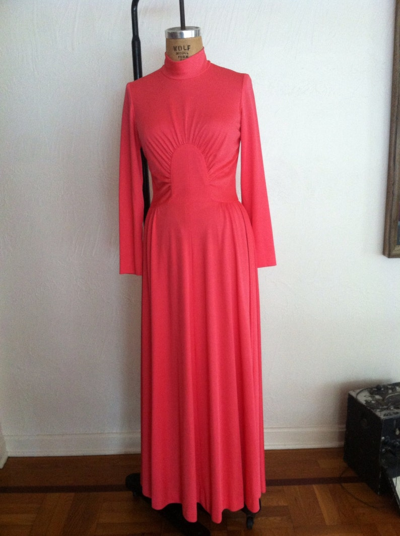 Deep Salmon Circle Gathered Waist Vintage ALISON AYRES Jersey High Neck Gown S