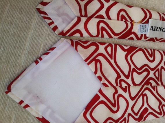 Rich Red Abstract Puzzle Lines on White Vintage A… - image 3