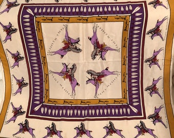 Rich Mustard Edge Purple Horses Painted Indians in Headdress Vintage Silk Hand Rolled Scarf