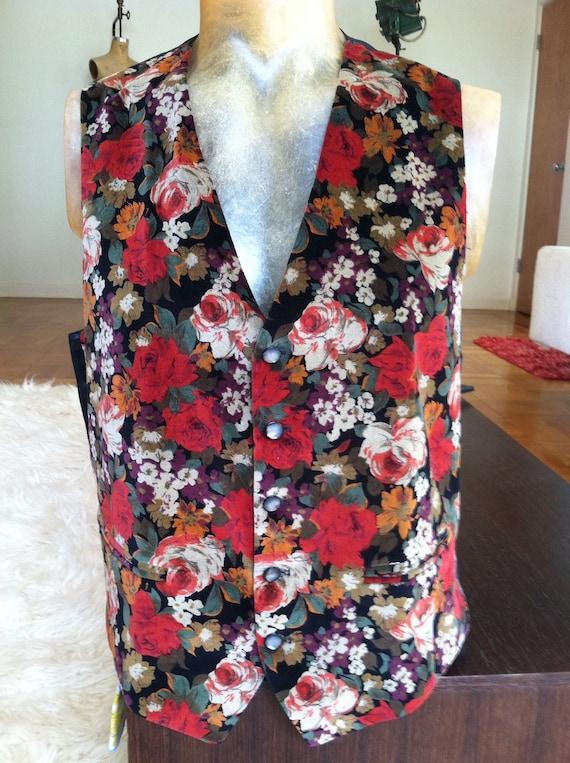 Floral Velvet Vintage ALEXANDRE of LONDON Vest Dap