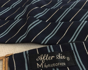 Baby Blue Silk and Silver Metallic Diagonal Striped Navy Blue Wool Vintage AFTER SIX by Rudofker Cummerbund