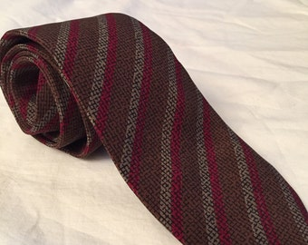 Rich Crosshatched Brown Red Taupe Diagonal Stripe Vintage GIVENCHY Silk Necktie