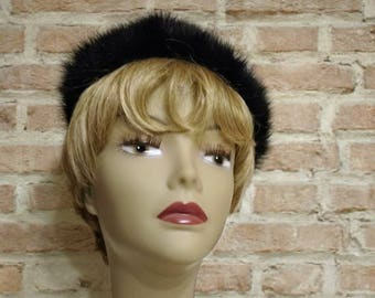 Vintage Mink Hat - Fur Pillbox Hat - Black Fur Hat - 1960s Mid Century Fur Hat - Dark Brown Vintage Hat