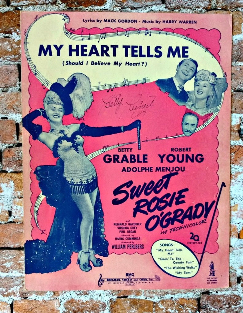 Sweet Rosie O'Grady Sheet Music - Betty Grable - Vintage Sheet Music - Set  of 2 - My Heart Tells Me - 1943 Hollywood Musical - WWII Musical