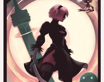 NIER AUTOMATA - 2B - Video Game Poster Art