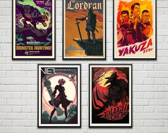 20x30 poster combo set 3 6 prints to choose gamer etsy