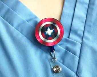 Captain America Nylon Cord Superhero Marvel Badge Reel Retractable ID Holder Nurse CNA Technician Mens Womens Comic Pharmacy