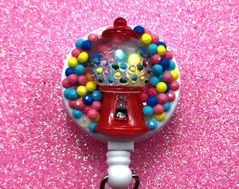 Fake Candy Sweets Gumball Bubblegum Machine Kawaii Pastel Badge Reel Retractable ID Clip Name Tag Holder Nurse CNA Technician Medical