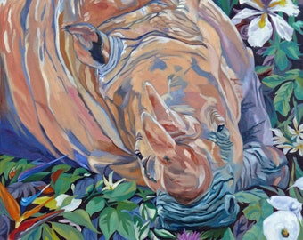 Southern White Rhino Fine Art Oil Painting