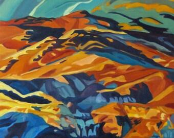 Mountain Vista Landscape Original Oil Painting