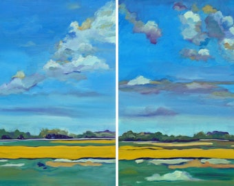Coreopsis Wildflowers Landscape Diptych Oil Painting
