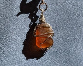 Seaglass Charm, Genuine Sea Glass Handmade Notebook Charm, Journal Panner Travelers Notebook Charm, TN Sketchbook Ironbark Journal Charm