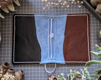 Fieldnotes Blue Orchid with Coffee and Espresso Leather Cover, Handcrafted Travelers Notebook Ironbark Journal Planner, Handmade TN