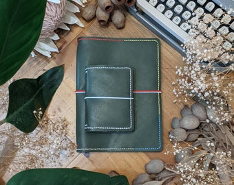 Custom Olive - Pick Your Travelers Notebook Size and Colours for Olive Leather Ironbark journal cover; Make Your Own Journal Cover