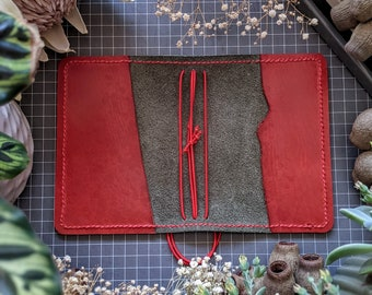 Fieldnotes/Pocket Olive with Raspberry Leather Cover, Handcrafted Travelers Notebook Ironbark Journal Planner, Handmade TN