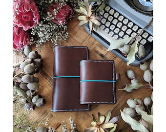Custom Coffee - Pick Your Travelers Notebook Size and Colours for Coffee Leather Ironbark Journal