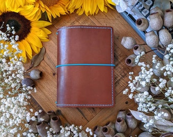 Custom Toffee - Pick Your Travelers Notebook Size and Colours for Toffee Leather Ironbark journal cover; Make Your Own Journal
