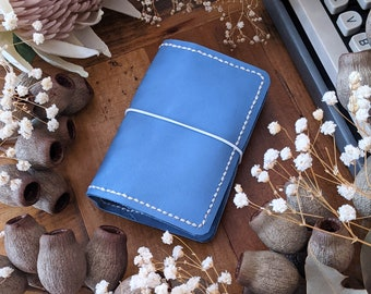 Custom Blue Orchid - Pick Your Travelers Notebook Size and Colours for Blue Orchid Leather Ironbark journal cover; Make Your Own Journal