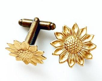 Sunflower Cufflinks Rustic Fall Autumn Wedding