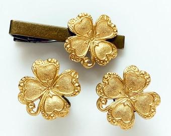 Four Leaf Clover Cufflinks Tie Tack Set Irish Wedding