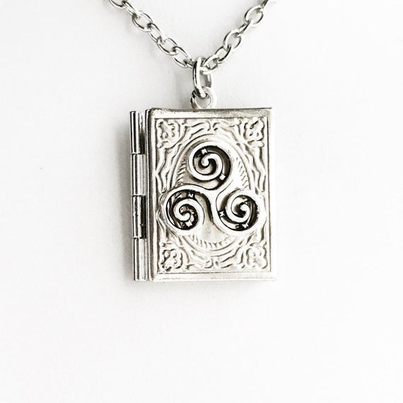 Triskelion Book Locket Necklace Pick Your Length Merlin Etsy