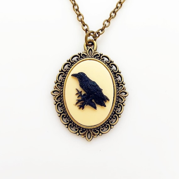 Vintage Raven Crows Bird Porcelain Cameo Pendant Handmade Silver Pld Jewelry NEW