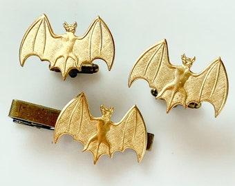 Bat Cufflinks Tie Tack Set Gothic Halloween Wedding