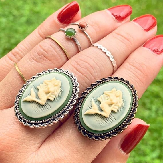 Frolic Sea Maidens Mermaid Cameo Ring