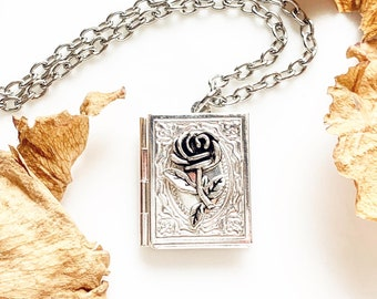Rose Book Locket Necklace Book Lover Jewelry