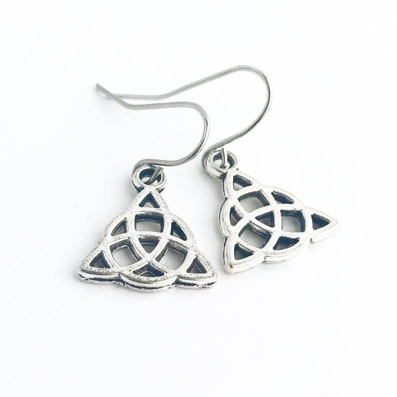 Classic Celtic Love Knot Silvered Earrings on .925 Sterling Silver French Hooks