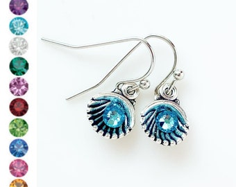Birthstone Earrings Seashell Earrings Birthstone Jewelry