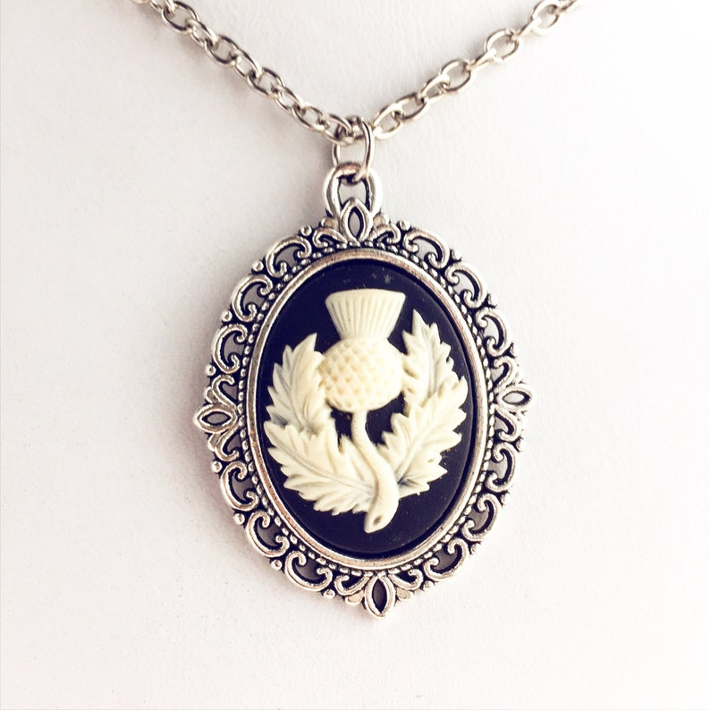 Scottish Thistle Cameo Necklace  Silver Scotland Pendant Thistle Flower Wedding Necklace Highland Outfit Costume Accessories Scotland Gift