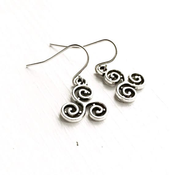 Triskelion Earrings Celtic Symbol Silver Pierced Dangly Etsy