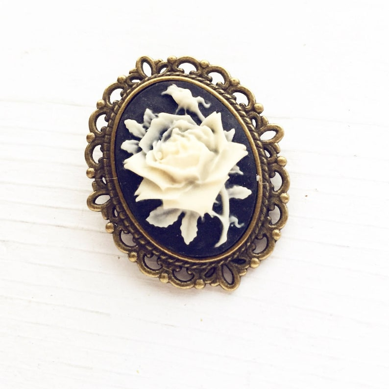 e26faf826b8 Rose Cameo Pin / Classic Cameo Brooch Vintage Style Flower   Etsy