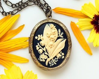 Lily of the Valley Locket Necklace Floral Cameo Locket