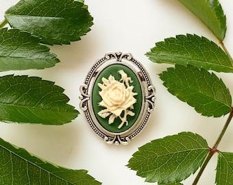 Rose Cameo Brooch Small Floral Green Irish Rose Pin