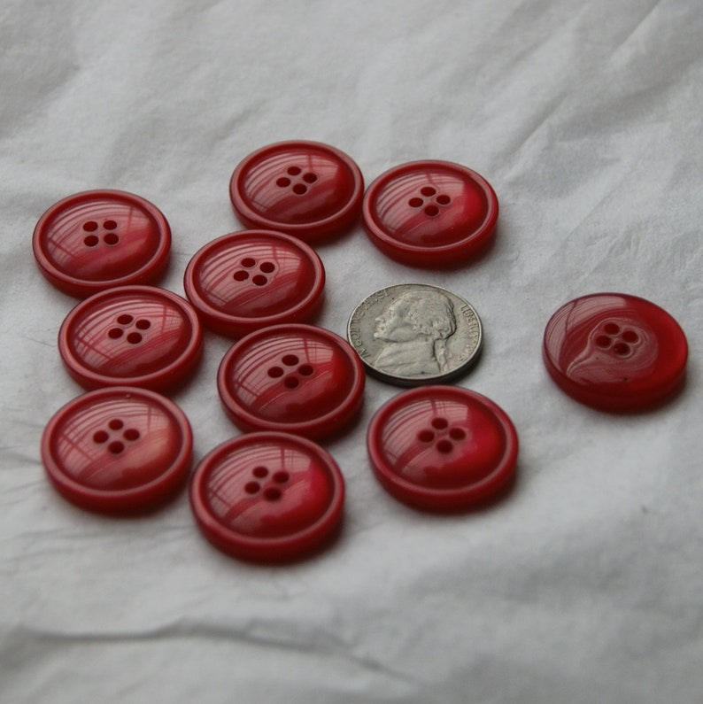Sewing Craft 10 Red Matching Buttons AH 122 Pearled Domed Buttons 4 hole Buttons