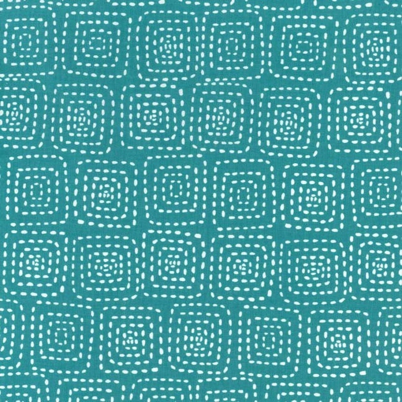 Stitch Square in Teal 1 yard  Michael Miller Fabric image 0