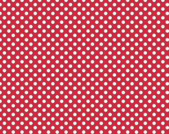 Small Cream Dot in Red - 1 yard -  by Riley Blake Designs.