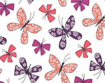 Chasing Butterflies in Berry from the Saturday Morning Collection - 1 yard - Michael Miller Fabric - Butterfly fabric