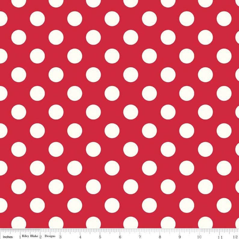 Medium Cream Dot in Red   1 yard   by Riley Blake Designs. image 0