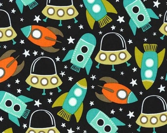Space Station in Retro - 1 yard - Michael Miller Fabric
