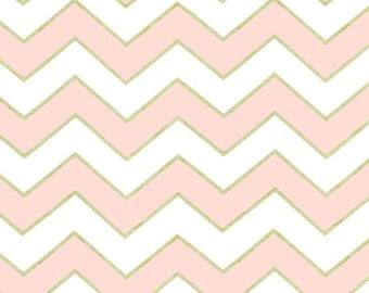 Michael Miller Glitz Metallic Chic Chevron Pearlized in Confection - 1 yard - Metallic pink chevron fabric - Pink gold chevron fabric