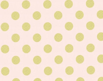 Michael Miller Glitz Metallic Quarter Dot Pearlized in Confection - 1 yard - Metallic pink and gold dot fabric - Pink gold dot fabric