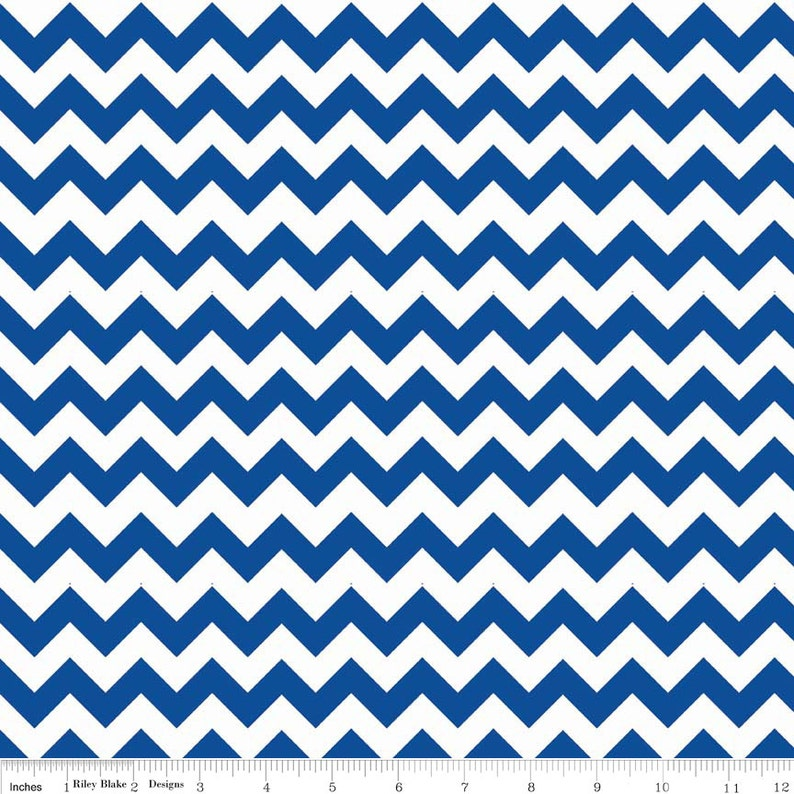 SALE   Small Flannel Chevron in Royal   1 yard   by image 0