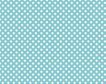 Small Cream Dot in Aqua - 1 yard -  by Riley Blake Designs.