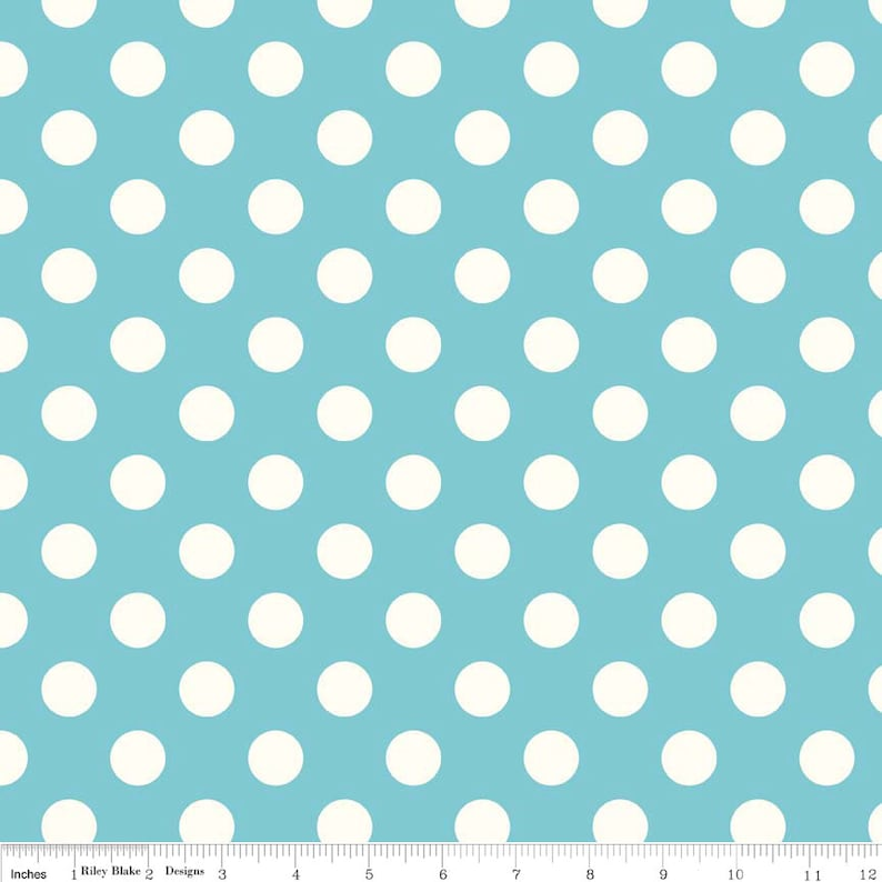 Medium Cream Dot in Aqua   1 yard   by Riley Blake Designs. image 0